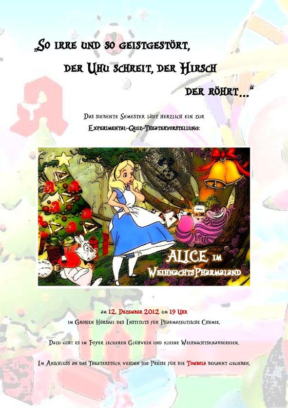 Alice im Wunderland @ Großer Hörsaal, Pharmazeutische Chemie | Marburg | Hessen | Deutschland