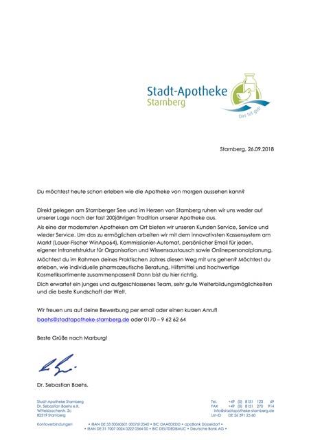 PJ- und Jobbörse - Fachschaft Pharmazie Marburg